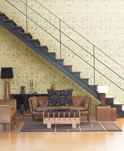 yellow pattern wallpaper #stairs #living