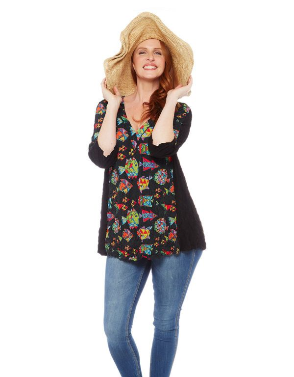 Kathleen Berney, Fashion designer. Fish in The Dark Swing Tunic This Kathleen Berney swing tunic, in our fun, Fish in the Dark print, has black contrast side panels, giving a flattering silhouette. V-neck detail and elbow length sleeves. Kathleen Berney's crushed breathable polyester is comfortable to wear, easy to wash and absolutely NO ironing required. #fashion #designer