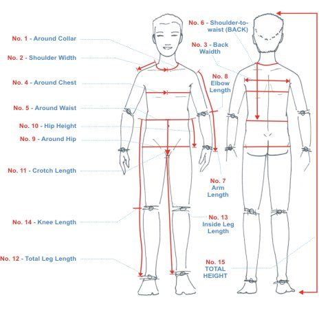 measuring chart for body