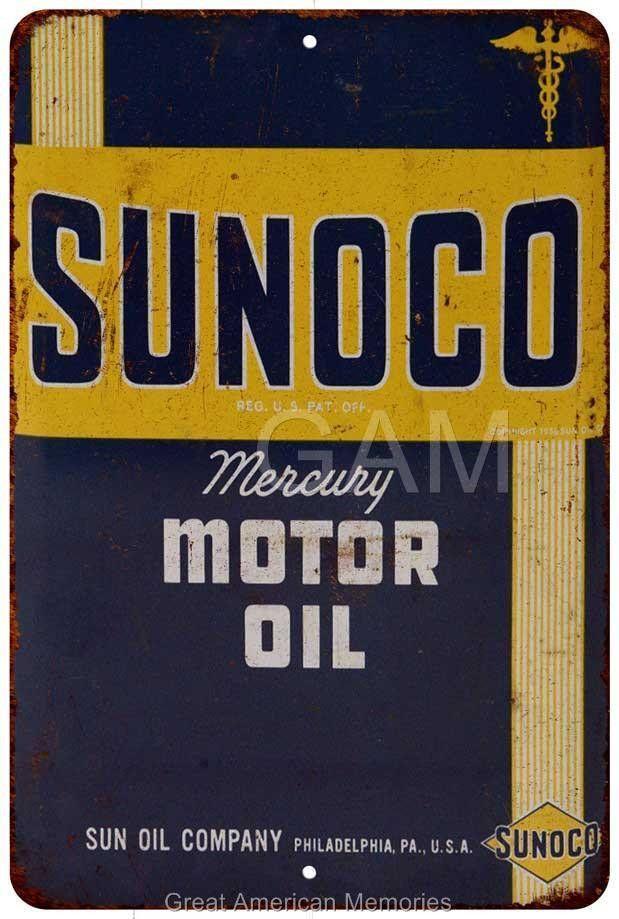 Sunoco Mercury Motor Oil Vintage Look Reproduction 8x12 Metal Sign 8121301