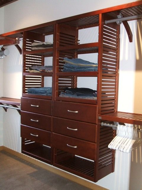 Good John Louis Home Solid Wood Shelving System With Side By Side Towers For  Bedroom Closet.