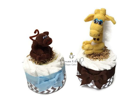 Mini Diaper Cake, your choice of washcloth animal topper, Chevron Diaper Cake, safari diaper cake, baby shower, centerpiece, decoration