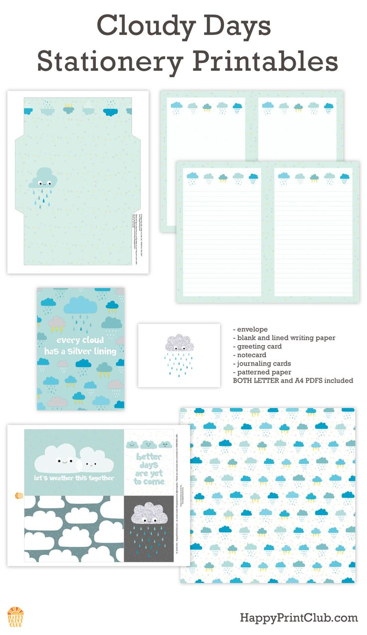Cloudy Days Stationery Printables on HappyPrintClub.com