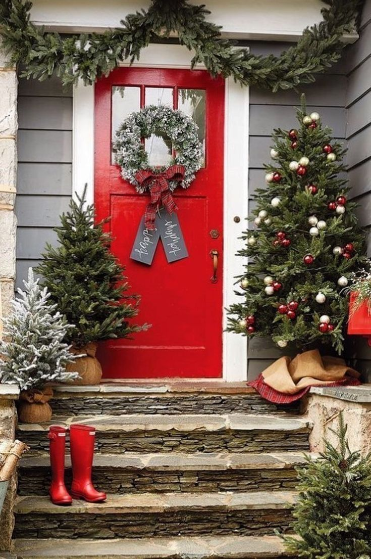 Everly Clothing Everlyclothing On Pinterest Front Door Christmas Decorations Christmas Porch Decor Front Porch Christmas Decor