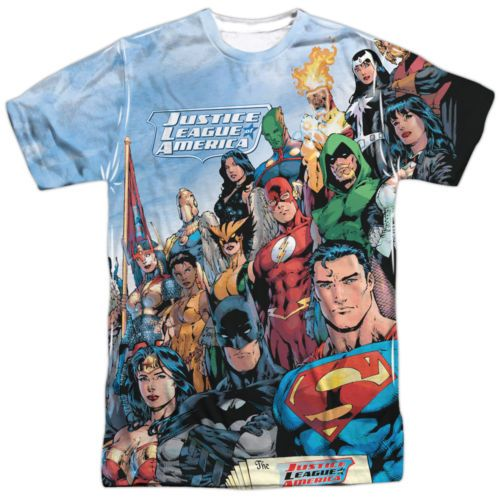 Justice-League-of-America-Heroes-Characters-Big-Print-Poly-Shirt-S-3XL