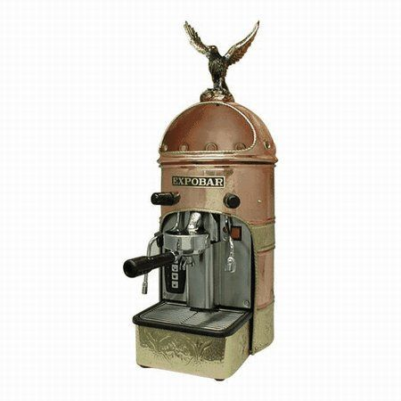Expobar Athenea Semi Automatic Espresso Machine . $2499.00. This is a one of a kind fully automatic commercial style espresso/cappuccino machine. The embossed copper and bronze is luxuriously finished with lacquer. When you look close you can see how the machine has been hand made by its Spanish craftsman. The eagle is removable or it can be turned to face any direction. This espresso machine has programmable coffee dispensing and can brew and steam at the same time. Thi...