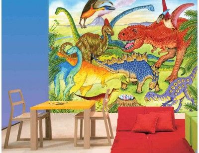 """""""Dinosaurs"""". A wallpaper mural from Muralunique.com. This is an original painting from Ruth Baker. https://www.muralunique.com/dinosaurs-105-x-8-320m-x-244m.html"""