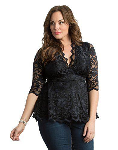 Kiyonna Women's Plus Size Linden Lace Top 1x Black Lace Black Lining