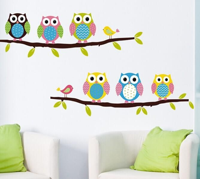 Owls Watching Over Your Baby! :) Removable Lovely Owls Of Childrenu0027s Room /  Bedroom Wall Sticker Part 81