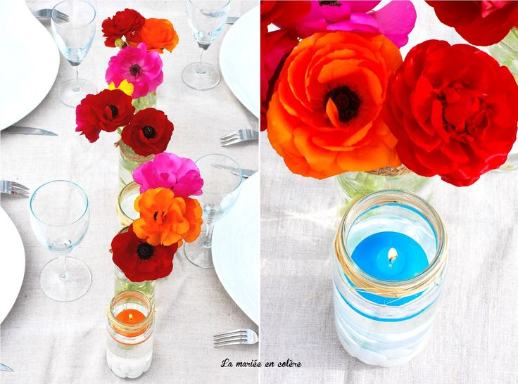 1000 id es sur le th me centres de table de mariage orange - Chemin de table colore ...
