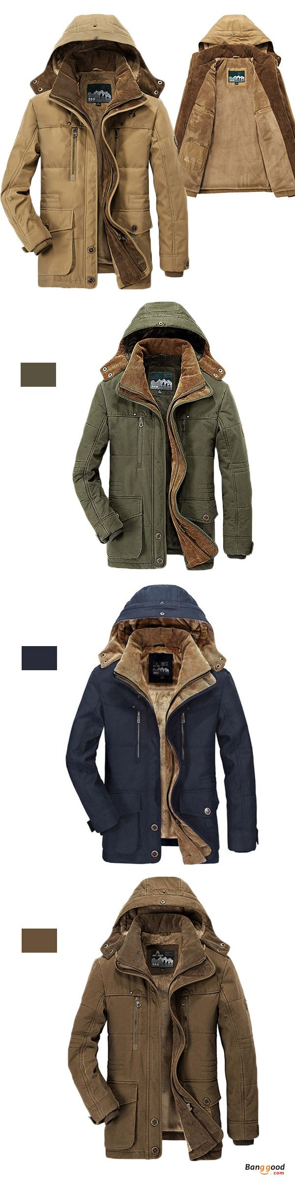 Mens Thick Fleece Winter Coat Hooded Outdoor Solid Color Jacket. Thick winter coat, big pockets! Keep you from the cold. Material: 100% Cotton. Lining: 100% Cotton. Perfect for the winter. Have the look!