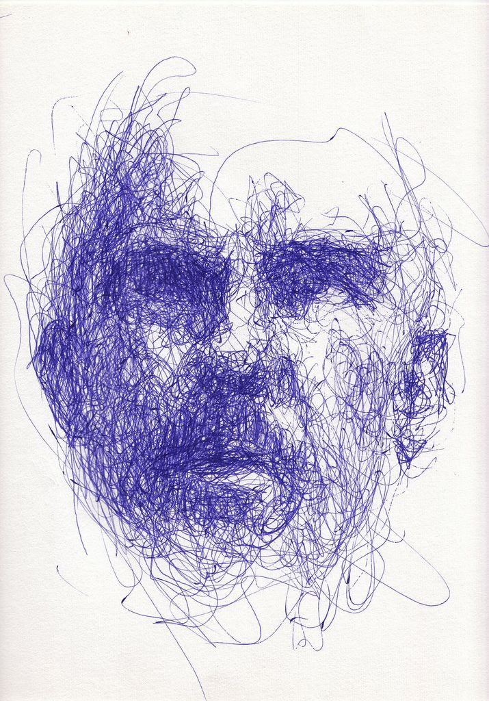 I legit use to make these type of doodle sketches in college.. Don't lift pen and Create portraits!