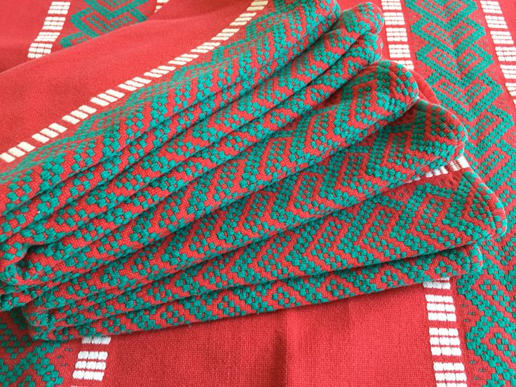 Vintage SCANDINAVIAN Napkins | Red, Turquoise, White | Woven Cotton | Set of Six by BROCANTEBedStuy on Etsy