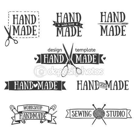 Set de badges la main rétro vintage, des étiquettes et des éléments du logo, symboles rétro pour atelier local, tricoter club, artiste à la main ou compagnie de tricots. Logo de modèle. Vector — Illustration #70174287