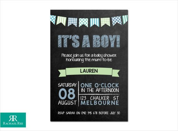 It's a Boy! Chalkboard and Bunting Baby Shower Invitations - Blue Green Grey - Digital Printable DIY
