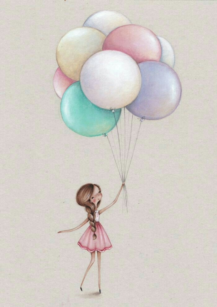 Марта, открытки воздушные шары девушка