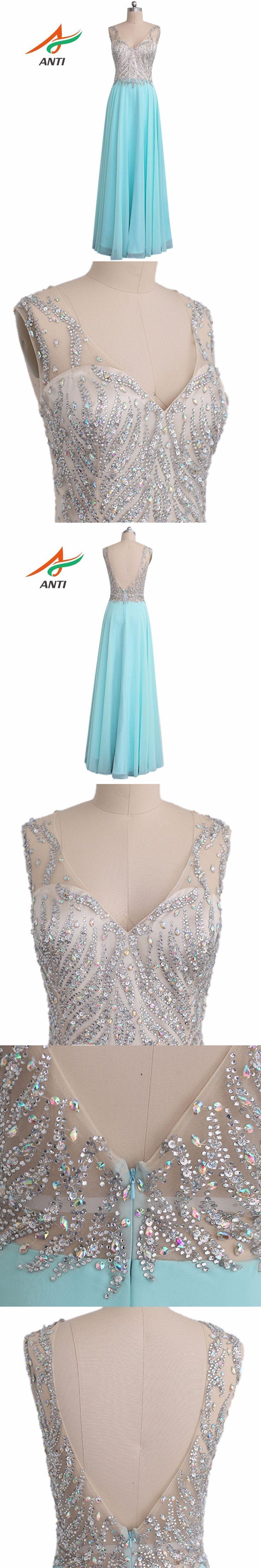 ANTI Elegant Mint Green Prom Dresses Long 2017 V-Neck Beaded Crystal Vestidos De Festa Formature A-Line Party Gala Dress HQY747