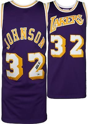 49ca12813 Magic Johnson LA Lakers Signed Purple Mitchell   Ness Authentic Jersey