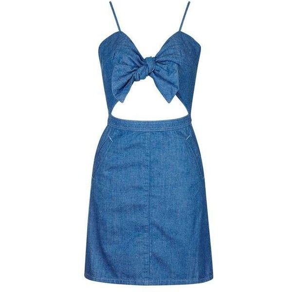 TopShop Petite Bow Front Denim Dress found on Polyvore featuring dresses, topshop dresses, topshop, fitted dresses, blue fitted dress and sweetheart neck dress