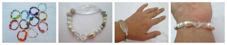 Pulsera Mixture Blanc  Materiales: Perlas, murano chino, cuentas cloissoné, cuentas acrílicas, rosas en arcilla polimérica  Valor: $8.000