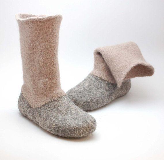 Felted wool slipper boots Grey - organic wool felt boots - boiled wool shoes