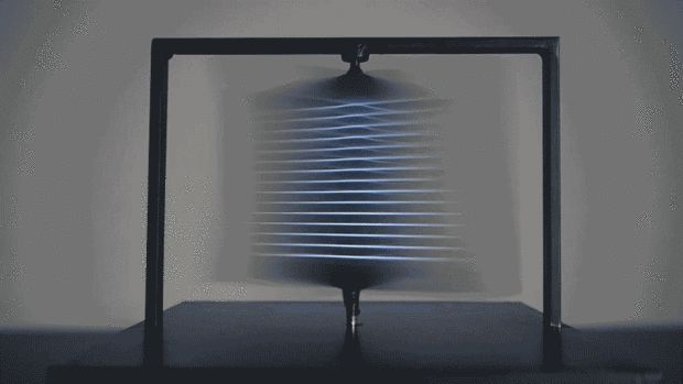 Full Turn is a project by ECAL student Benjamin Muzzin. It's a 3-D screen that, rather than using the typical active shutter glasses or parallax effects, creates the illusion of glowing, holographic sculptures simply by spinning extremely fast.