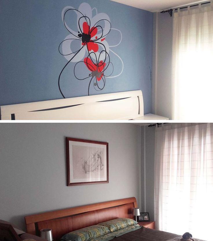 La pintura puede transformar una estancia completamente, como en este dormitorio. Se ha pintado la pared, se ha pintado un mural y se han pintado los muebles...un cambio total por Nieves Miranda