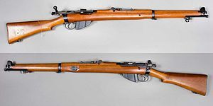 The Lee-Enfield bolt-action, magazine-fed, repeating rifle was the main firearm used by the military forces of the British Empire and Commonwealth during the first half of the 20th century. It was the British Army's standard rifle from its official adoption in 1895 until 1957.  The Lee-Enfield was adapted to fire the .303 British service cartridge, a rimmed, high-powered rifle round.