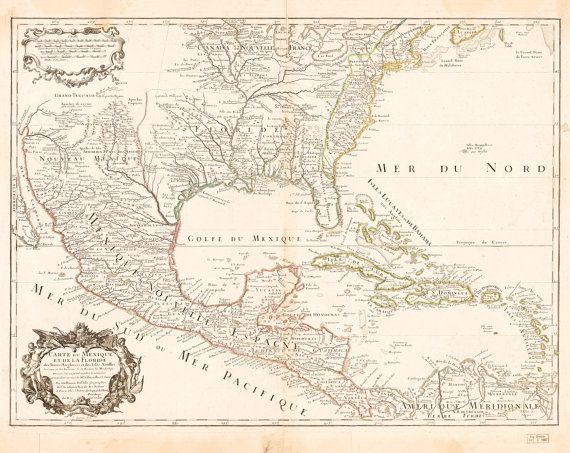 Old Map of America, Mexico, Cuba, Gulf of Mexico – Antique Printable map – vintage old world map