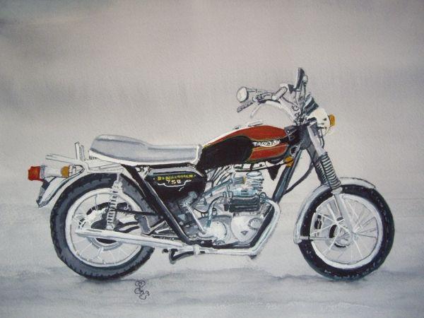 Triumph Bonneville watercolour