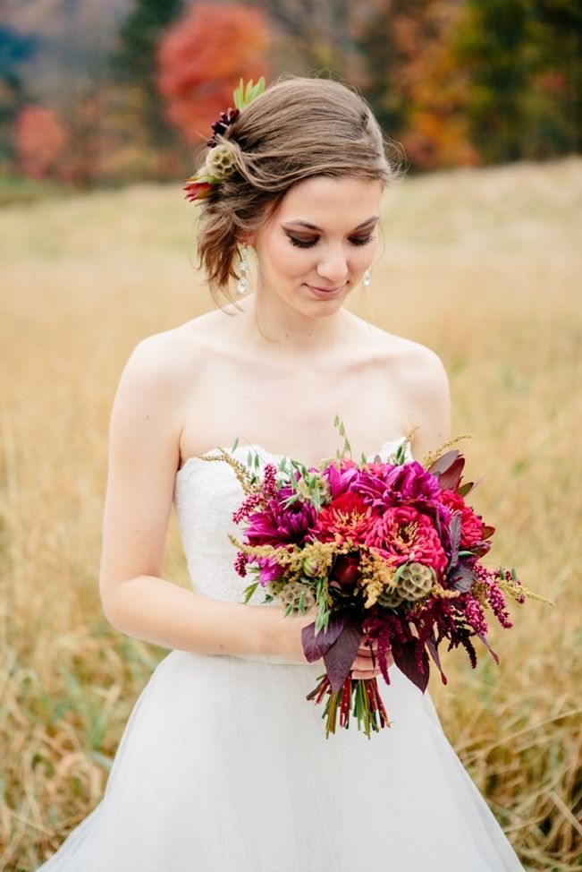 gorgeous rich fall bouquet with deep red, fuchsia, and gold! Sweet Violet Bride - http://sweetvioletbride.com/2013/12/ethereal-autumn-wedding-style-ampersand-wedding-photography/