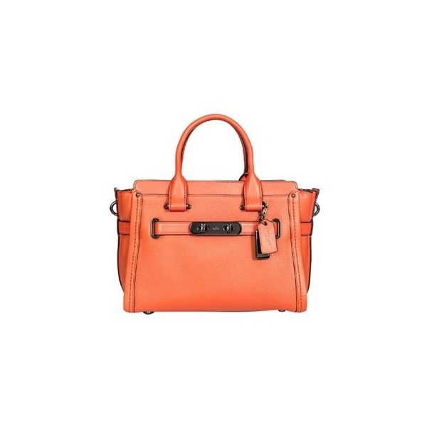 Coach Handbag ($421) ❤ liked on Polyvore featuring bags, handbags, shoulder bags, orange, red leather shoulder bag, red leather purse, red leather handbags, man leather shoulder bag and coach handbags