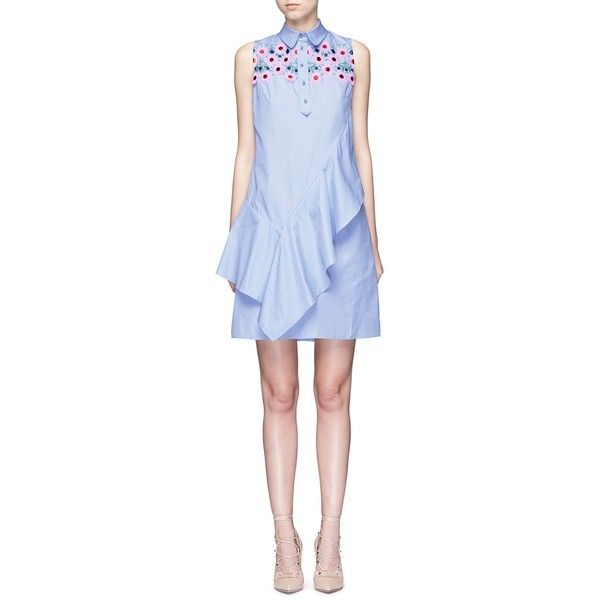 Peter Pilotto Ruffle front floral lace cotton shirt dress (€800) ❤ liked on Polyvore featuring dresses, blue, party dresses, going out dresses, blue shirt dress, cotton dress and floral lace dress