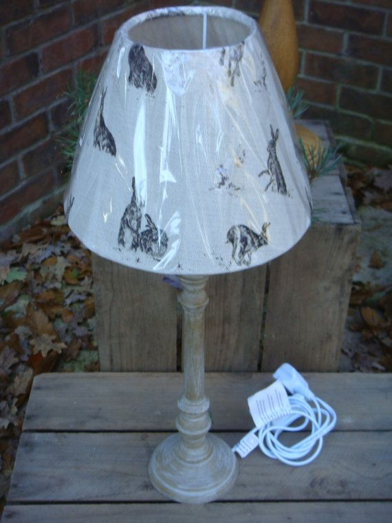 "A beautiful lamp base and shade , painted natural with""  Hares  ""fabric shade, milton and manor �55"
