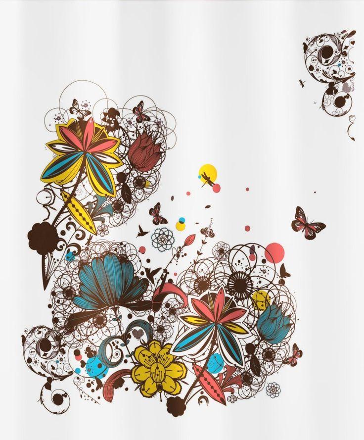 Kleine Wolke Crazy Flower 5218148305 Shower Curtain 180 x 200 cm Multi-Coloured