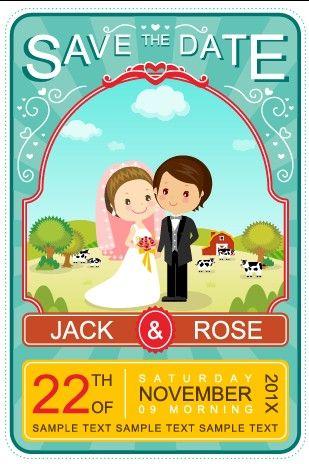 Cute cartoon style wedding invitation card vector 02