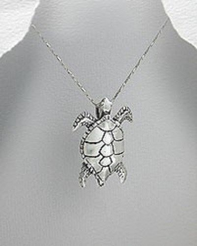 STERLING SILVER SEA TURTLE SWIMMING UP PENDANT NECKLACE #Pendant