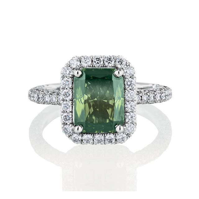 De Beers Fancy green diamonds, like the one shown in this striking Master Diamond ring, are extremely rare.