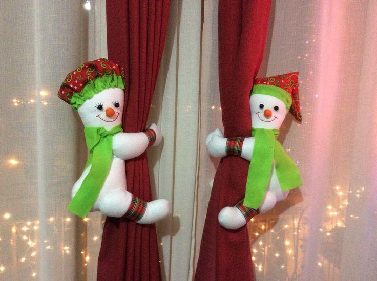 Muñecos Cortineros, Monos de Nieve #fieltro #muñecosfieltro