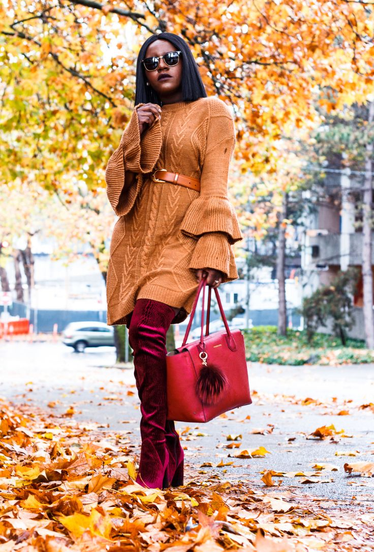 Seattle Blogger Frilancy is giving us fabulous autumn vibes. We also love the way she styled this Bell Sleeve Ruffle Sweater Dress paired up with OTK boots and red Michael Kors tote bag. Tommy Hilfiger, Velvet Boots, Thigh High Boots, Michael Kors, Michael Kors Bag, Ray Ban, Bob Hair Style, Short Hairstyle, Bob Hairstyles, Bell Sleeve, Bell Sleeve Sweater, Urban Decay Lipstick, Mac Studio Fix, Fall Style, Winter Style, Fall Fashion, Winter Fall, OOTD, OOTN, Fall Leaves, Street Fashion