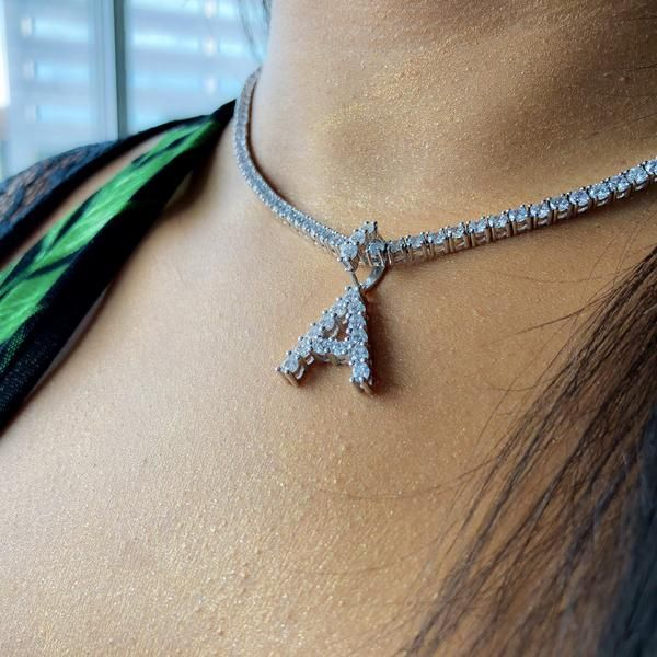 Diamond Letter Necklace 3mm Tennis Chain Letter Pendant Necklace Necklace Jewelry Display Diamond Bracelets