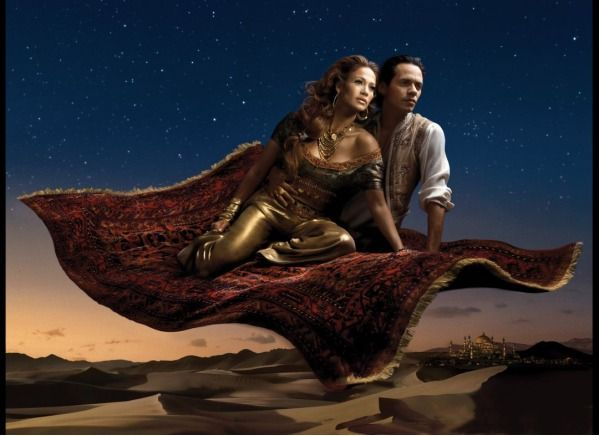 Jasmine and Aladdin - Jennifer Lopez and her then husband Marc Anthony pose as Jasmine and Aladdin from Aladdin, on their magic carpet ride!