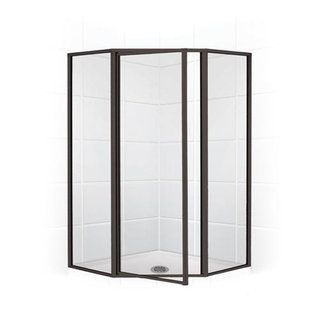 "Mustee 42"" Neo Angle Shower Enclosure with with Oil Rubbed Bronze Finish and Clear Glass"