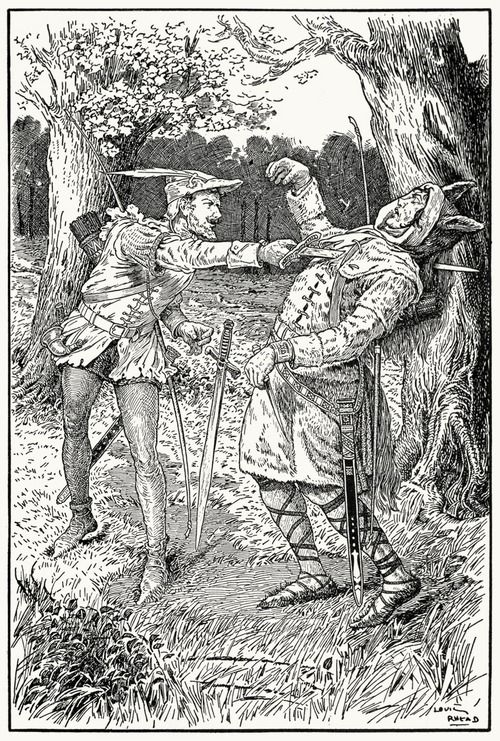 Robin drove his blade through sir Guy's body.  Louis Rhead, from Bold Robin Hood and his outlaw band, New York, London, 1912.