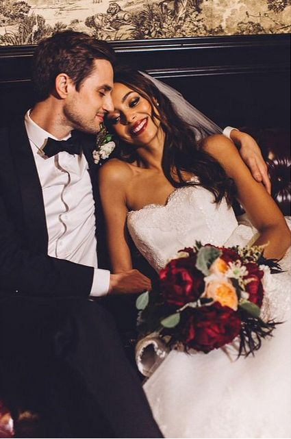 Gorgeous interracial couple happily in love on their wedding day #love #wmbw #bwwm
