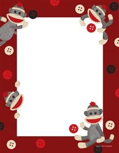 Sock Monkeys Letterhead - Go bananas #teaching in a #classroom setting full of appealing and fun-loving Sock Monkey resources. Find every decorating and organizing need for a successful Sock Monkey makeover. This classroom theme will knock your socks off!