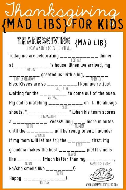 FREE Thanksgiving Mad Libs.