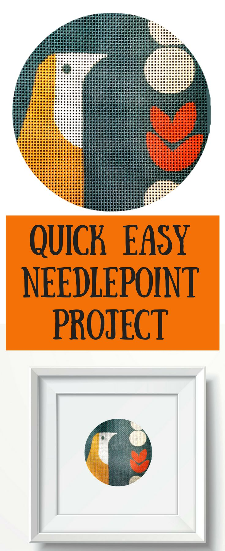 Try this quick and easy needlepoint project for beginners. You can even frame it yourself.