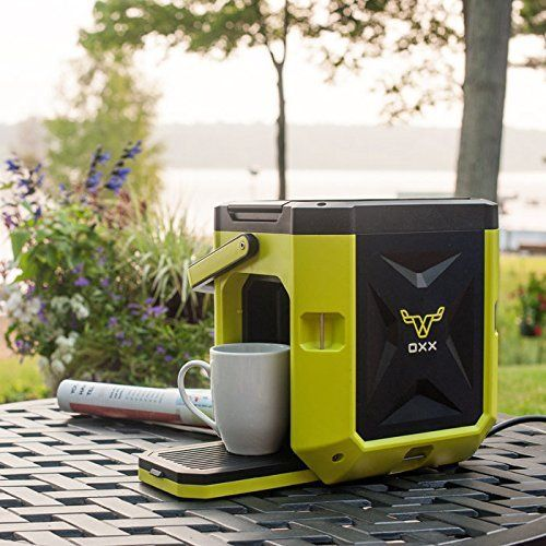 COFFEEBOXX Single Serve Portable Coffee Maker by OXX. Built for the toughest jobsite or weekend adventure. Give the gift of fresh, hot coffee with the K-Cup, compatible COFFEEBOXX. The rugged coffeemaker, built to work on the toughest job sites, is the ideal coffee maker for camping, boating, RVing, tailgating and outdoor entertaining. Guaranteed to draw attention so be prepared to brew a few extra cups of your favorite coffee. The spill-proof 2.5L water tank gets up to 10 8-oz cups of…