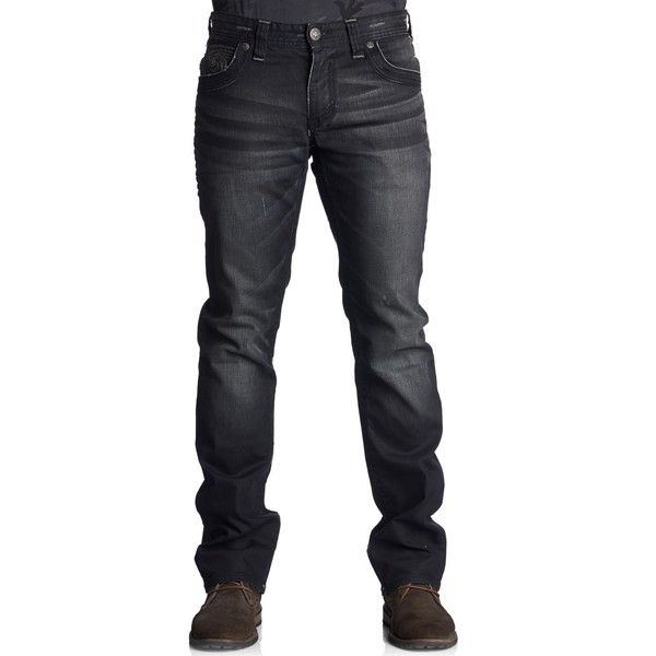 Affliction Men's Ace Slim Straight-Leg Jeans (€52) ❤ liked on Polyvore featuring men's fashion, men's clothing, men's jeans, journey black, mens faded jeans, mens slim cut jeans, mens straight leg jeans, mens slim fit jeans and mens slim jeans